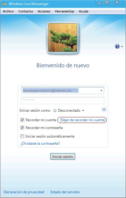 borrar cuenta de la lista de inicio windows live messenger