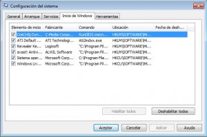 Quitar programas del inicio de Windows 7