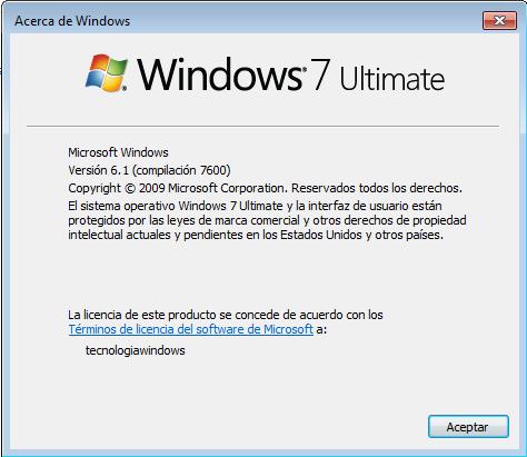 Información de Windows 7 en Acerca de
