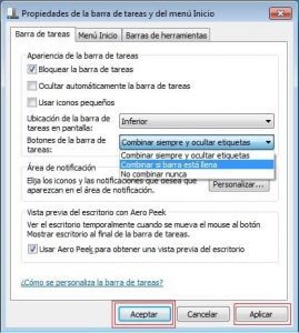 Desagrupar ventanas en la barra de tareas de Windows 7