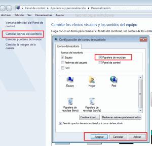 mostrar la papelera de recilaje de windows 7