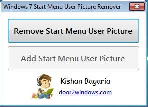 Quitar la imagen de usuario de cuenta en el menu inicio de windows 7