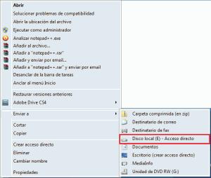 Modificar menu enviar a windows 7