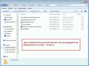 Modificar Personalizar y añadir opciones al Menú Enviar A Windows 7
