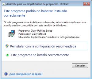 Este programa podría no haberse instalado correctamente