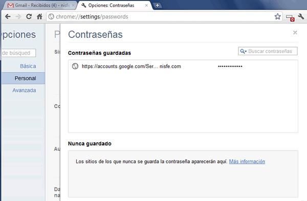 Recuperar contraseñas almacenadas Google Chrome