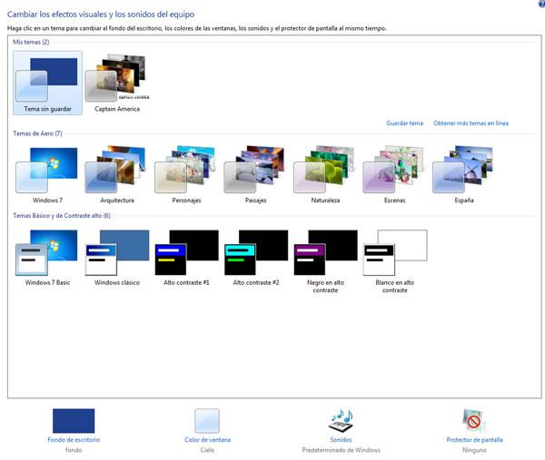 Como cambiar la apariencia con los temas de Windows 7 Themes