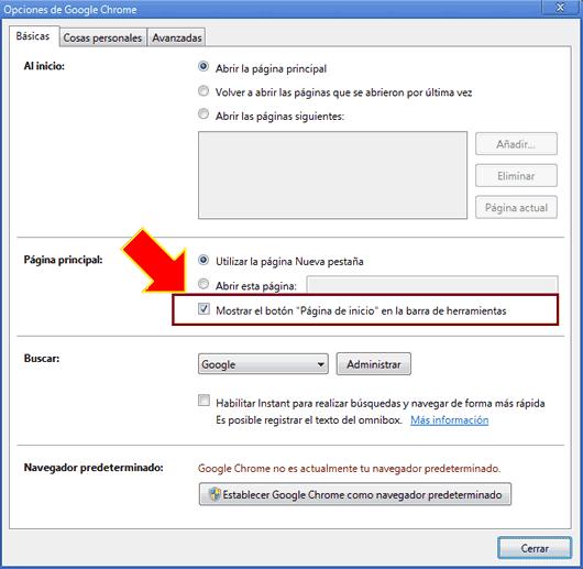 Como hacer que Google Chrome muestre de nuevo el botón Home