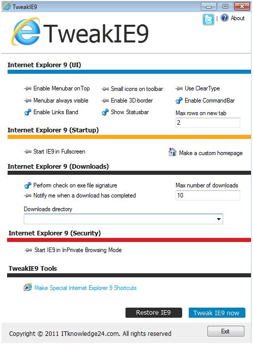 Personalizar Internet Explorer con TweakIE9