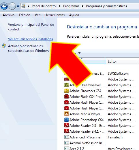 Como desinstalar actualizaciones instaladas en Windows 7