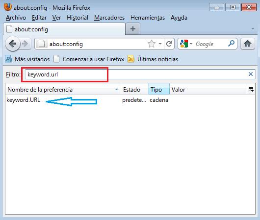 Cambiar el motor de Búsqueda de la Barra de direcciones Firefox