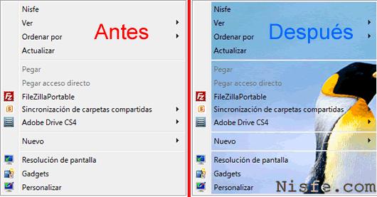 Poner una Imagen de fondo en el Menú contextual de Windows 7