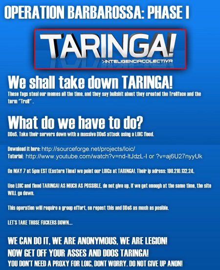 4Chan amenaza a Taringa! con un ataque DDos