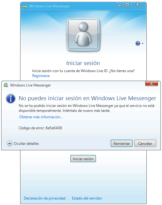 Error 8e5e0408 en el Inicio de Windows Live Messenger