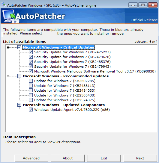Actualizar Windows 7 Offline sin conexión a Internet con AutoPatcher
