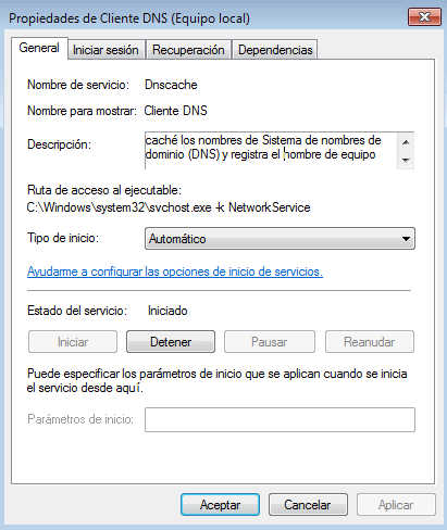 Error al querer borrar la cache DNS de Windows