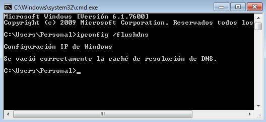 Borrar y Limpiar la Cache de DNS de Windows 7