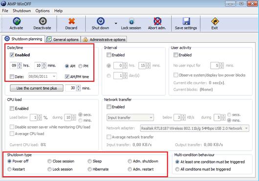 Apagar Reiniciar y Finalizar la Sesión de Windows 7 con AMP WinOFF