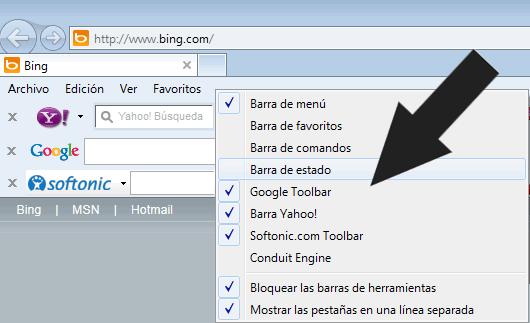 """Deshabilitar las barras de herramientas """"Toolbar"""" de Internet Explorer 9"""
