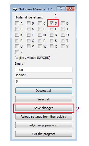 Ocultar una partición de disco duro en Windows 7 con NoDrivers Manager