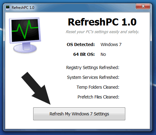 Restaurar la configuración original de Windows 7 con RefreshPC