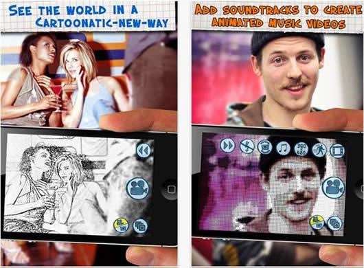 Añadir efectos de dibujos animados a todos tus videos de tu iPhone 3G iPod touch iPad 2 con Cartoonatic