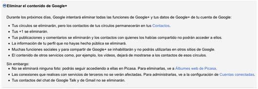 Como eliminar una cuenta de Google+