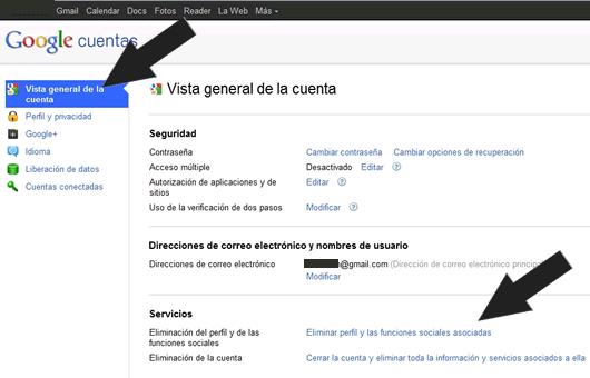 Como eliminar una cuenta de Google+ (Google Plus)