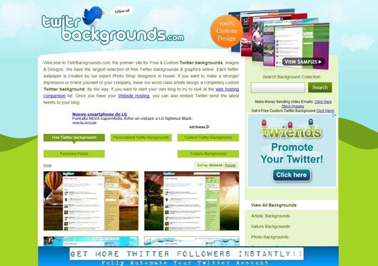 Personaliza tu perfil de Twitter con los fondos de TwitrBackgrounds