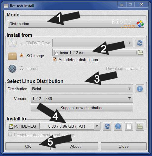 Instalar una distribución Linux en una memoria USB con LiveUSB Install