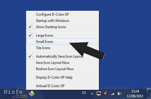Mostrar el texto de los iconos del escritorio al lado en Windows 7