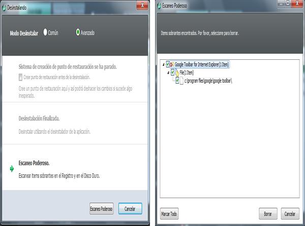 IObit Unistaller eliminar las barras de herramientas de Internet Explorer, Firefox y Chrome con