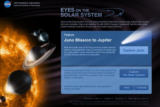 Explorar las misiones de la NASA en 3D por el Sistema Solar en tiempo real