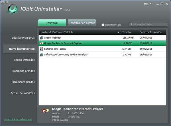 Como quitar las Toolbars de Internet Explorer, Firefox y Chrome con IObit Unistaller