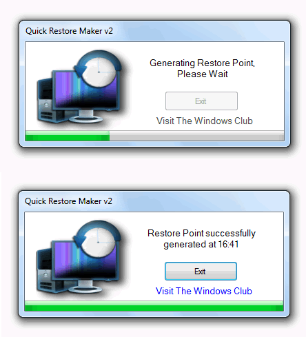 Crear un punto de restauración en Windows 7 con Quick Restore Maker