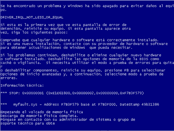 Pantalla azul de la muerte Windows XP y Windows 7