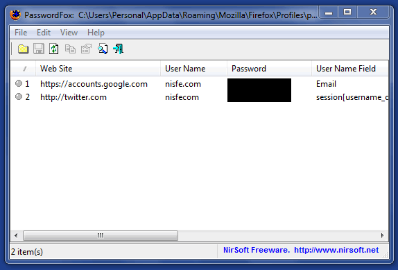 Recuperar contraseñas olvidadas en Mozilla Firefox con PasswordFox
