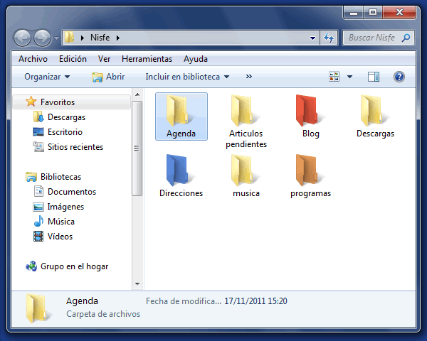 Como cambiar el color a una carpeta de Windows 7 con Folder Colorizer