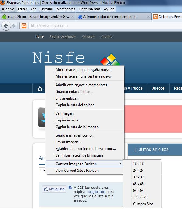 Extensión de Firefox para crear avatar de forma sencilla y rápida. Image2Icon