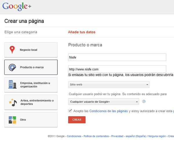 Escogemos la categoría de nuestra pagina de Google+