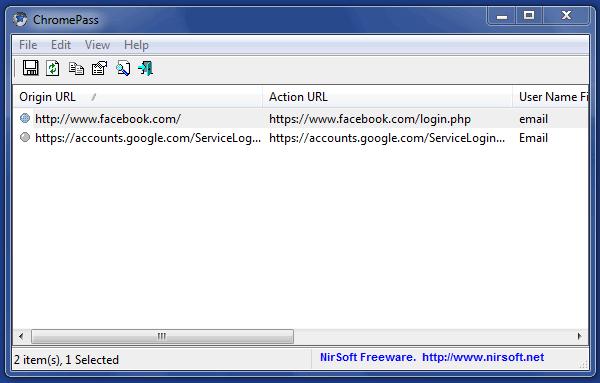Recuperar las contraseñas guardadas en Google Chrome con ChromePass