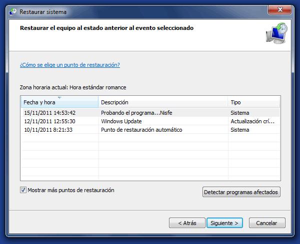 Nos aparecerá la ventana de Windows 7 para restaurar el sistema