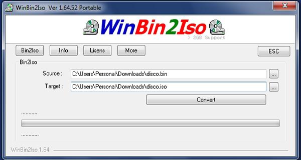 Como convertir una imagen BIN a ISO con WinBin2Iso