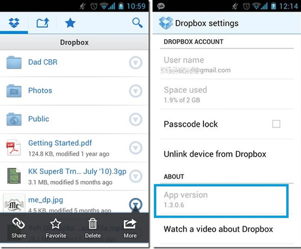 Actualización de Dropbox para Android ICS