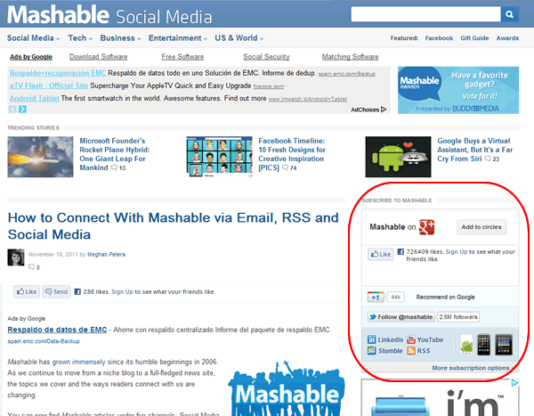 Easy Mashable Social Bar. Plugin inspirado en la barra social de Mashable