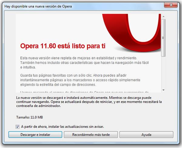 Disponible para su descarga la nueva versión 11.60 de Opera