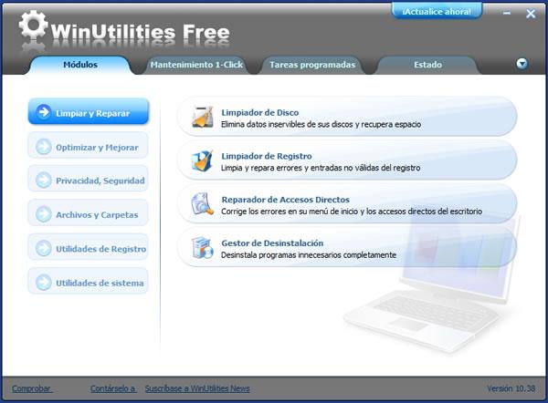 WinUtilities. Optimizar y mejorar el rendimiento de Windows