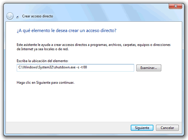 Como apagar Windows 7 C:\Windows\System32\shutdown.exe -s -t 00