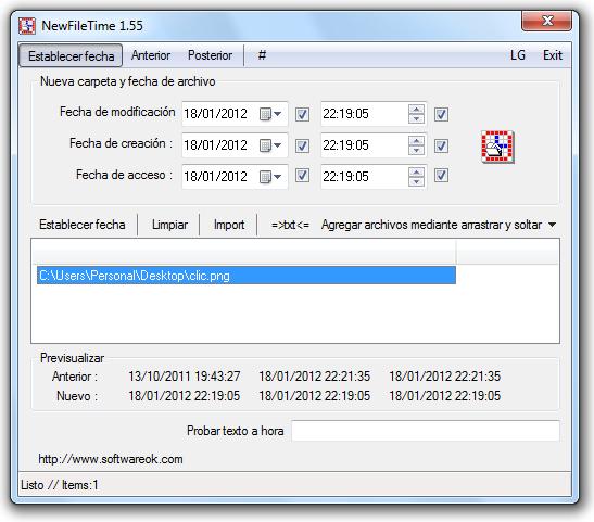 Como cambiar la fecha de creación de un archivo en Windows 7 con NewFileTime