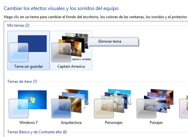 Pasos para eliminar un tema de Windows 7